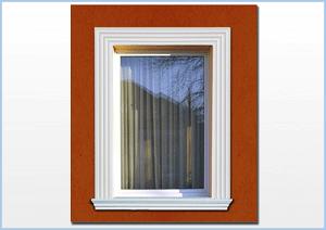 Ablakdíszítés, ablakkeret egyfajta díszléc használatával